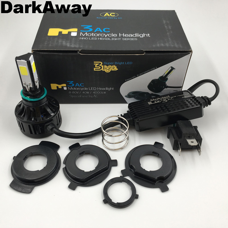 DarkAway AC 8V - 80V <font><b>H4</b></font> <font><b>LED</b></font> <font><b>Bulb</b></font> Bike <font><b>Motorcycle</b></font> <font><b>LED</b></font> Headlight 40W 4000Lm HS1 Plug H6 PH7 PH8 BA20D <font><b>LED</b></font> Headlamp 360 Beam IP67 image