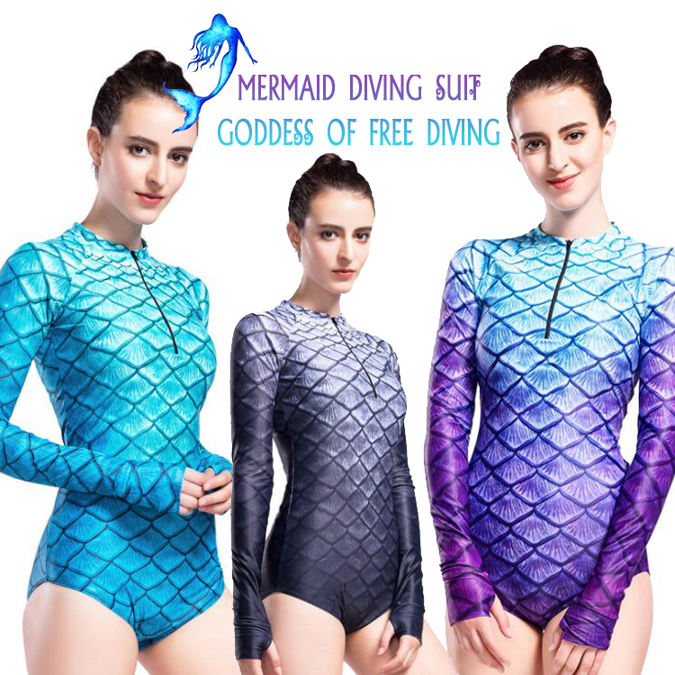 New swimsuit women s striped swimsuit diving suit surfing clothes sunscreen jellyfish free diving suit Mermaid