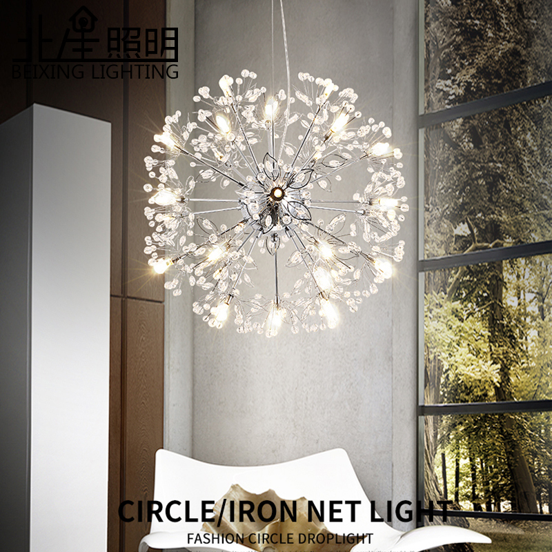 Modern creative personality living room bedroom LED crystal pendant lights clothing shop dandelion spherical pendant lamp creative personality pendant lights wine shop modern minimalist art lolita dining room pendant lamps diamond lamp gy304