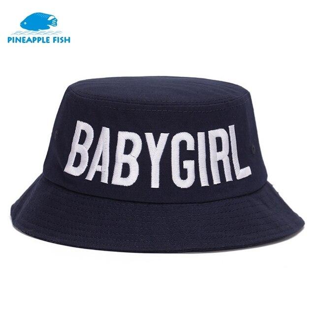 6074c3f4e45 3D Embroidery BABYGIRL White Black Summer Bucket Hats for Women Men Hip Hop  Cap Panama Lovers Beach basin cap Foldable Sun hats