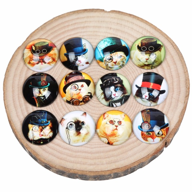 Onwear mélange de cabochon rond en verre   Cercle de photos de chat steampunk 25mm 20mm 12mm 30mm, dôme à dos plat fait à la main, résultats de bijoux