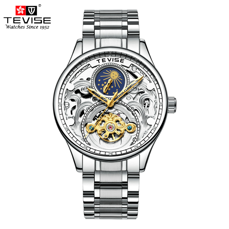 TEVISE Luxury Tourbillon Automatic Mechanical Watches Men Self Wind Business Stainless Steel Moon Phase Wristwatches Clock T820A men stainless steel watches mechanical wristwatches automatic self wind complete moon phase water resistant clock brand tevise