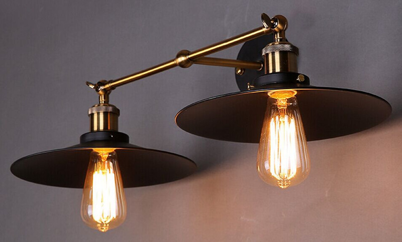 wall sconces double heads light umbrella shape wall lights retro industrial e27 edison lighting iron craft decorative wall lamp