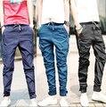 Moda 2016 Nueva Baggy Harem Elástico pantalones vaqueros Hombres Pantalones Cónicos corredores Hip hop Casual Pantalones Legging Lápiz Pantalones Vaqueros Calv Jean CK-005