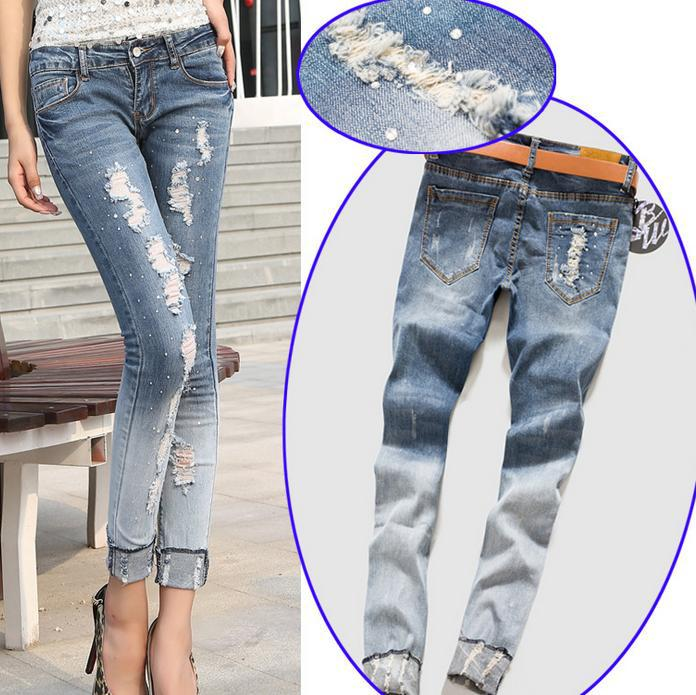 ФОТО New women's fashion jeans waist long trousers Diamond hole jeans