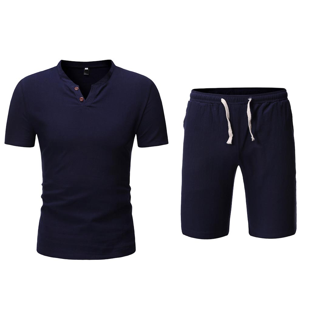 Short Sleeve T Shirt Men Set Suit V Neck Casual Shorts Formal Summer Wear Clothes Set Button Chinese Linen Cotton Harajuku 7.10(China)