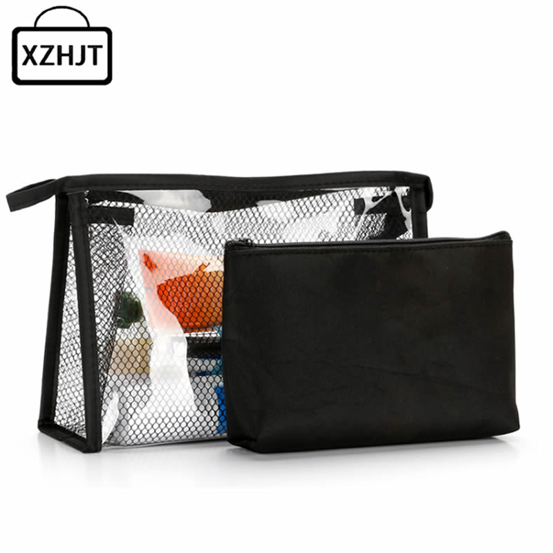 Women Travel Cosmetic Bag Casual Transparent Mesh Zipper Makeup Case Make Up Organizer Storage Pouch Toiletry Wash beauty Bags pvc transparent wash portable organizer case cosmetic makeup zipper bathroom jewelry hanging bag travel home toilet bag