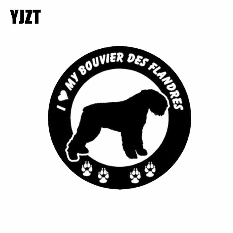 YJZT 15CM*15CM I Love My Bouvier Des Flandres Dog Paw Vinyl Fashion Car Sticker Black/Silver C2-3233
