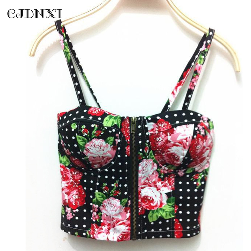 Sexy Corset crop tops women 2018 Backless Halter Tank Top Retro Camisoles Wrapped Chest white Black Print Floral Harness Top