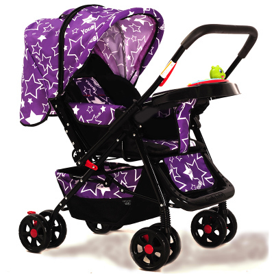 Strollers can sit or lie four shock absorbers portable two-way portable folding stroller baby stroller