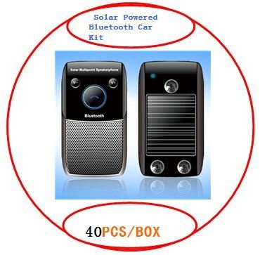 2012 HOT FREE SHIPPING Factory wholesale 40PCS/BOX  Solar Powered Multipoint Bluetooth car kit Speaker Phone Handsfree BY DHL