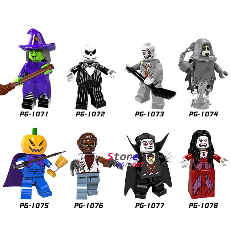 50pcs Halloween keleton Jack Witch Zombie Pumpkin Man Werewolf Vampire Count building block bricks for kits