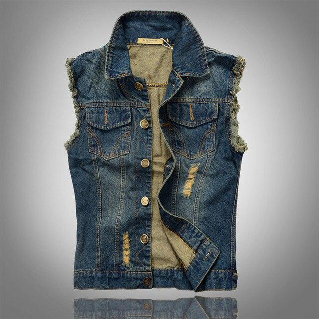 Jean Waistcoat 2016 New Washed Denim Vest Men Brand Pocket Coat Spring Men's Cowboy Vest Man Sleeveless Jacket Clothing M-5XL