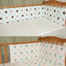 цена на 120*29cm 2Pcs/Set Breathable Baby Bedding Bumper Collision Half Around baby bumper crib set Cotton Printing Mesh Safety Rails