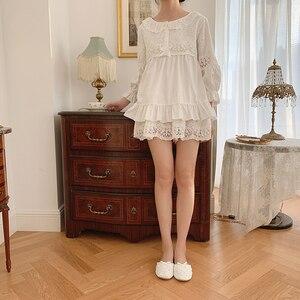 Image 3 - Zomer Vrouwen Lolita Bloem Borduren Pyjama Sets Tops + Shorts.Vintage Dames Meisje Pyjama Set. Victoriaanse Nachtkleding Loungewear