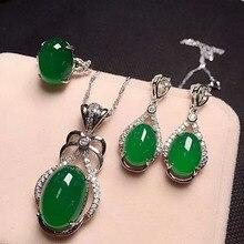 תכשיטים 925 כסף טבעית ירוק שוהם סגלגל תליון טבעת Rop עגילי שלוש חתיכות.