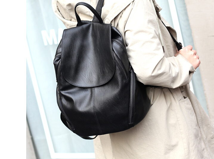 Women Washable Pu Leather Backpack Simple Campus Student School Soft Bag Black E798fg456a In Backpacks From Luggage Bags On