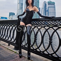 latex leotard sexy rubber bodysuit with Low collar back zipper (not including corset ,gloves and stocking)