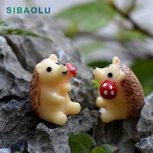 Hedgehog Figurine Miniature Statue Decoration For mini fairy garden Micro Landscape Cartoon animal resin craft TNA028