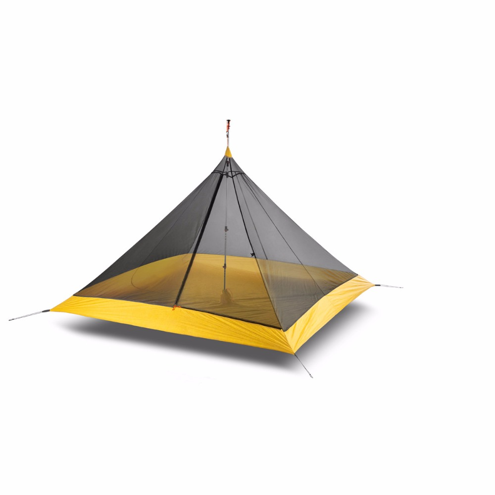 995G Camping Inner Tent Ultralight 3 4 Person Outdoor 20D Nylon Sides Silicon Coating Rodless Pyramid