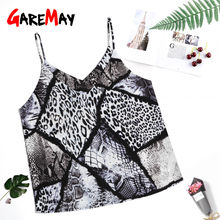 Snake Skin Print Top Sexy Sleevless Diepe V-hals Halter Tank Tops Vrouwen Zomer 2019 Plus Size Spaghetti Band Luipaard print Top(China)