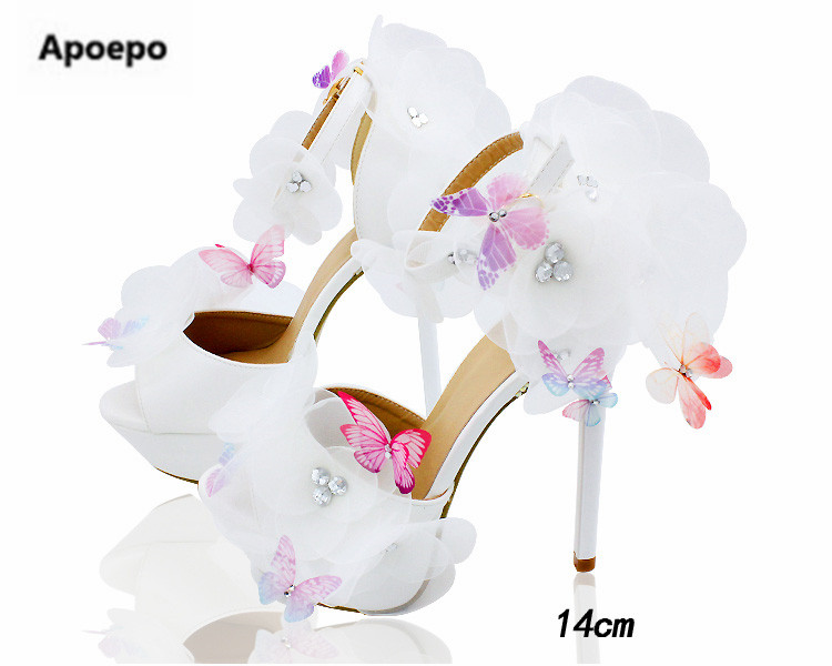 Apoepo luxury brand clogs shoes pumps lace white bride wedding shoes flower butterfly design pumps 14 cm high heels shoes women design square snow white laser cut wedding cards for invitations flower lace blank inside printing invitation card kit invite