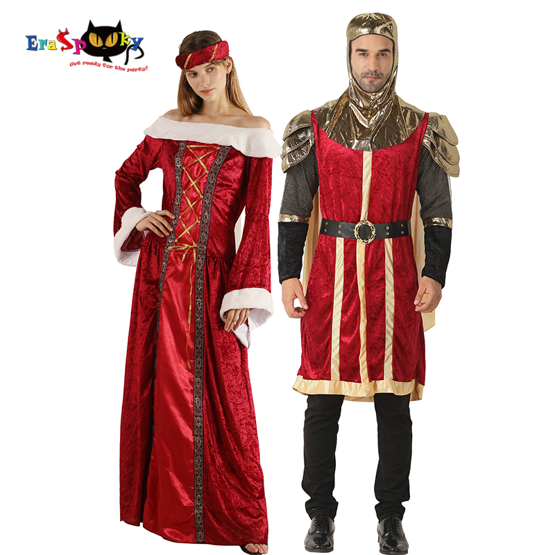 Renaissance Men's Knight Cosplay King Queen Couple Costume Halloween Costume Adult Medieval Dress Carnival Party Group Outfit