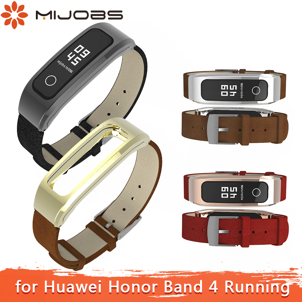 Mijobs Leather PU Wrist Strap For Huawei Honor Band 4 Running Strap Smart Wristband Sport Bracelet For Honor Band 4 Running