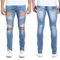Hombres Biker Jeans de Moda Hiphop Flaco Strech Jeans Para Hombres Slim Fit Jeans Motocycle Azul Gris H0296