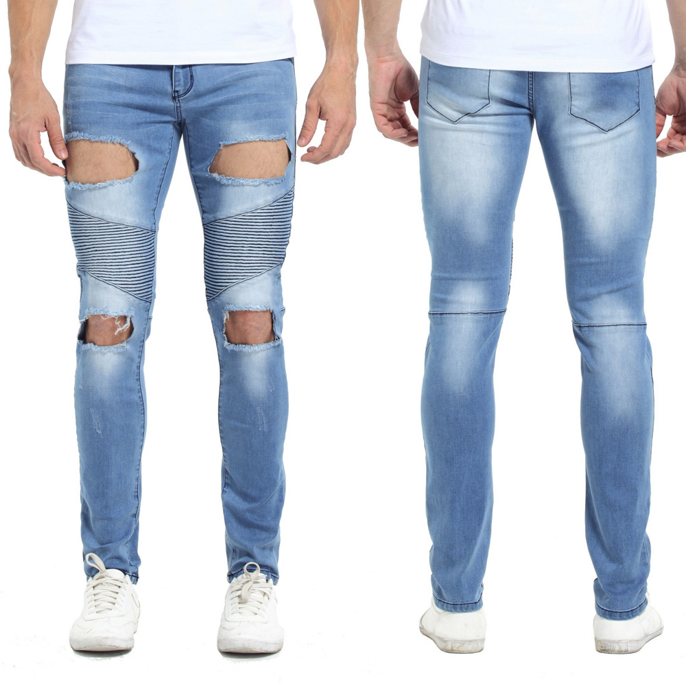 Men Biker Jeans Fashion Skinny Strech Hiphop Jeans For Men Slim Fit Motocycle Jeans Blue Grey