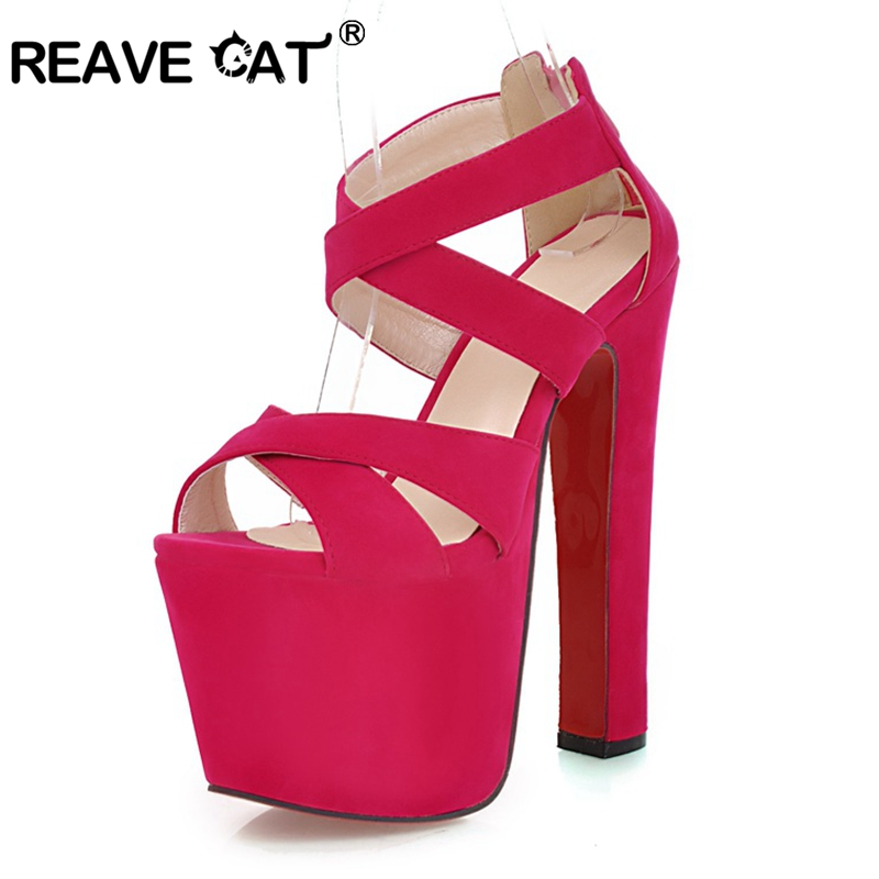 REAVE CAT high heels shoes Women s sandals Fashion Sexy Party shoes Lady s sandal Flock