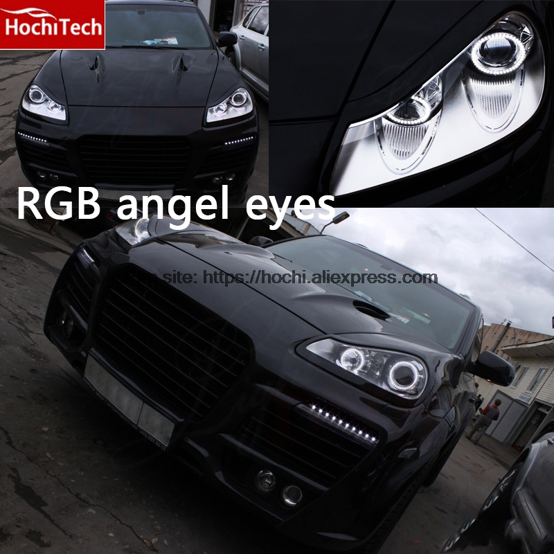 HochiTech RGB Multi-Color LED Angel Eyes Halo Rings kit super brightness car styling for Porsche Cayenne 2007 2008 2009 hochitech rgb multi color halo rings kit car styling for bmw 3 series e90 05 08 halogen headlight angel eyes wifi remote control