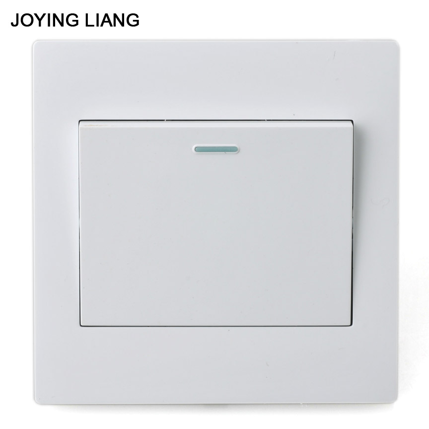 JOYING LIANG Classic White 86mm One-gang Two-way Rocker Switch Socket PC Panel One-way Double-pole 86 Wall Switches high quality double computer network socket large panel 86type wall socket simple classic white and gold