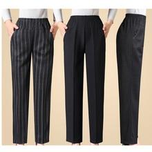 Женские брюки с эластичным поясом, черные повседневные Прямые брюки для женщин среднего возраста, большие размеры, весна осень