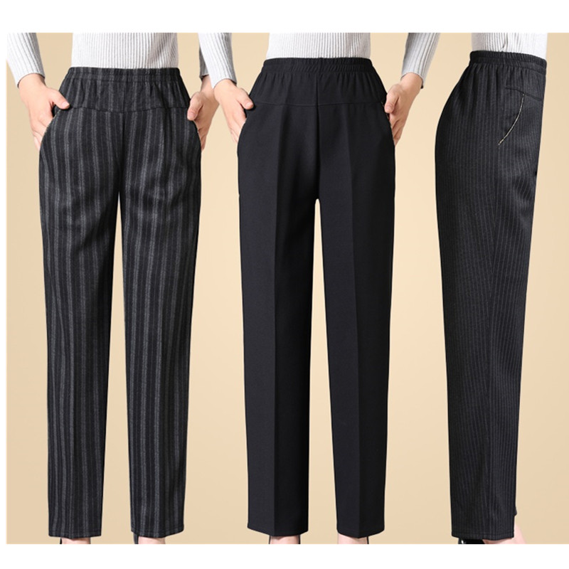 Spring Autumn Elastic Waist Middle-aged Ladies Trousers Large Size Grandmother Loose Pants Black Casual Female Straight Pants