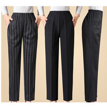 Spring Autumn Elastic Waist Middle-aged ladies Trousers Large size Grandmother Loose Pants Black Casual Female Straight Pants(China)
