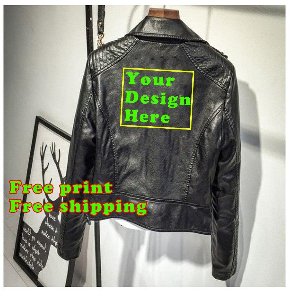 Personnaliser la veste en cuir Pu Logo personnalisé veste personnalisée pour les femmes livraison gratuite impression personnalisée votre veste en cuir design
