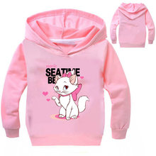 Pretty Cute Marie Cat Print Sweatshirts Girls Long Sleeve Winter Hoodies Kids Sweater Cartoon Anime T-shirt For Lolita Children(China)