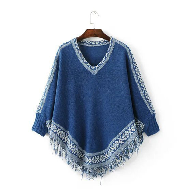 Vintage V-neck Pattern Print Autumn Winter Sweater Fashion New Casual Ponchos And Capes For Ladies Tassel Patchwork Cloak Jumper