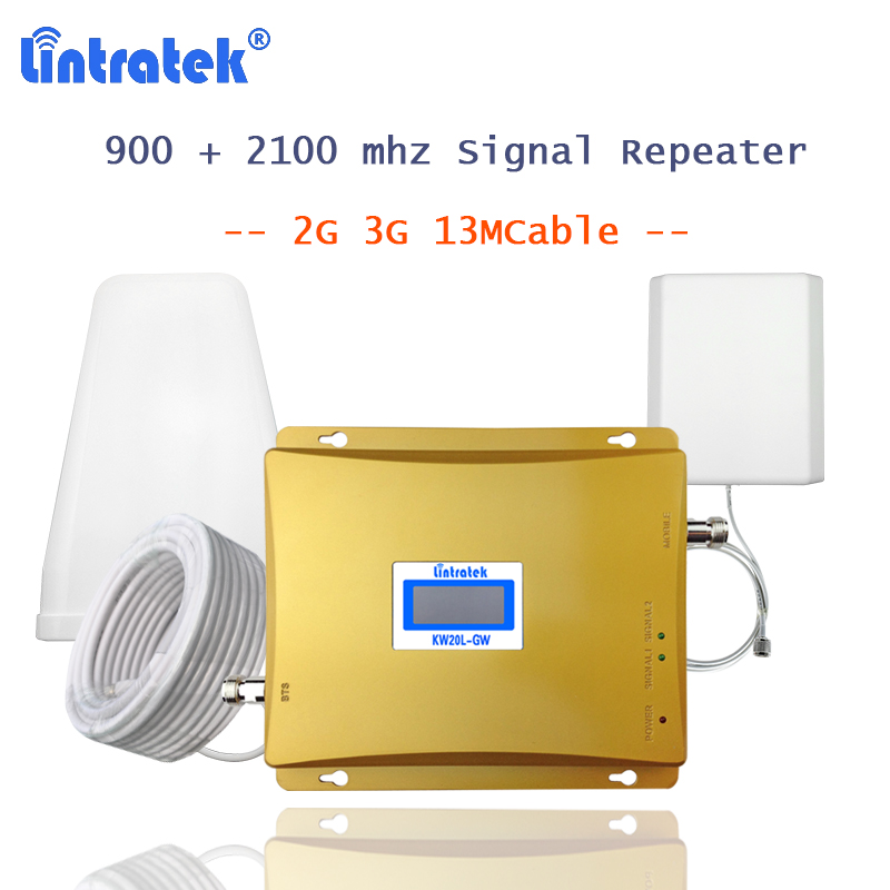 lintratek gsm900 repeater gsm 2100 Band 1 cellphone signal amplifier booster 2g 3g cellular and internet
