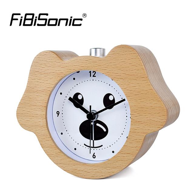 22f51faa1 FiBiSonic Chinese Zodiac Animal Puppy Wooden Snooze Night Light Alarm Clock  Dog Wood Desktop Table Clocks Saat Despertador