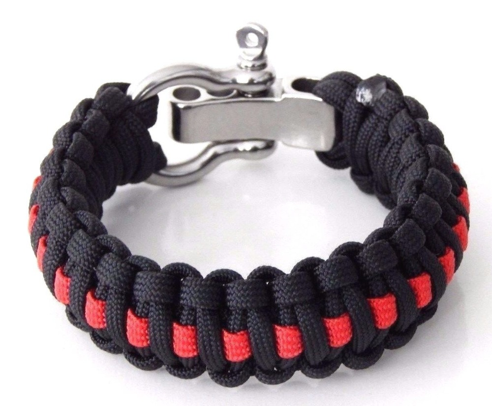 Active 550 Paracord Survival Bracelet Thin Red Line Support Firefighters Firemen Hero Handmade Bracelet Wrishband Wrish Band Buckles & Hooks