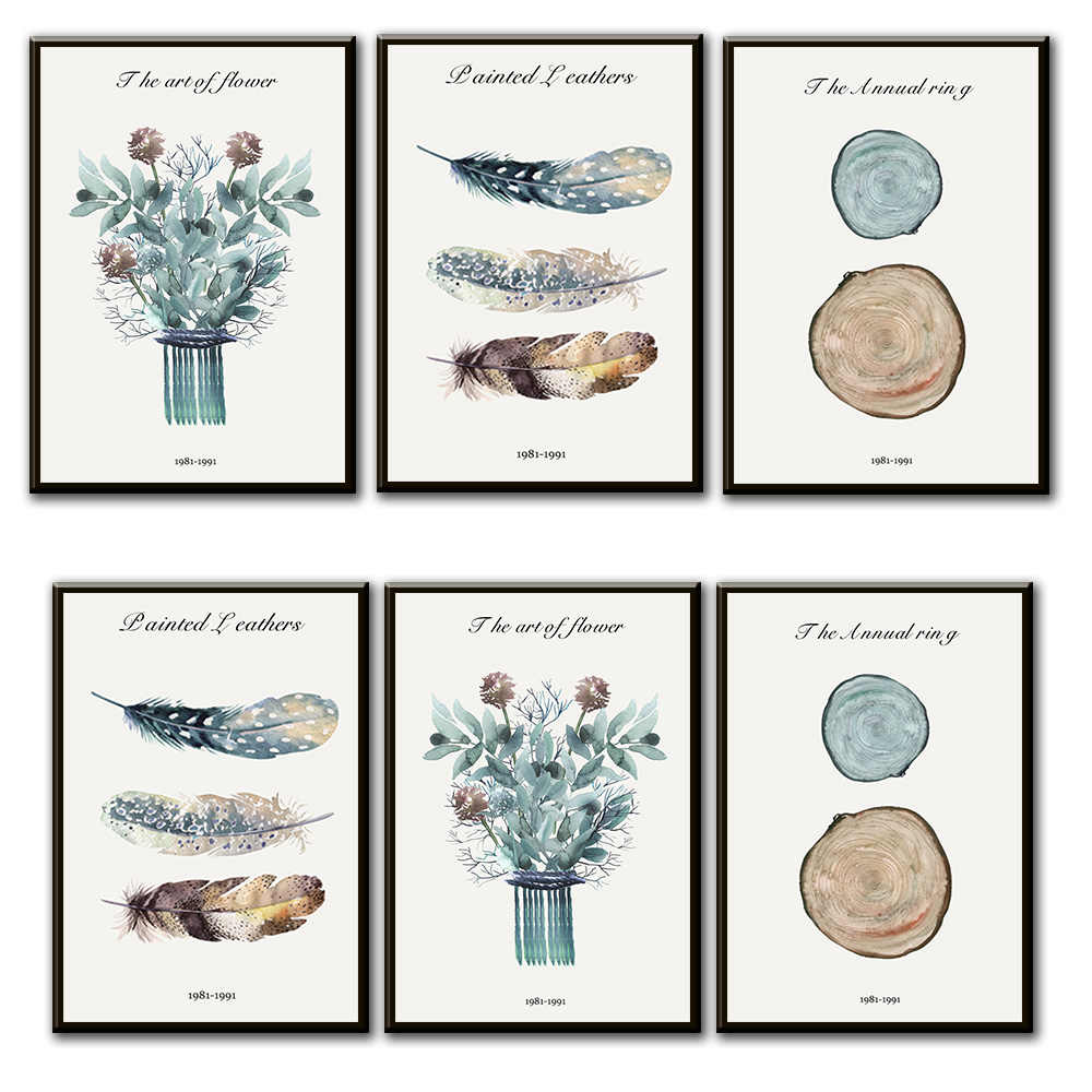 Watercolor Tribe Feather Flower Wall Art Canvas Poster Nursery Print Nordic Painting Wall Picture for Living Room Home Decor