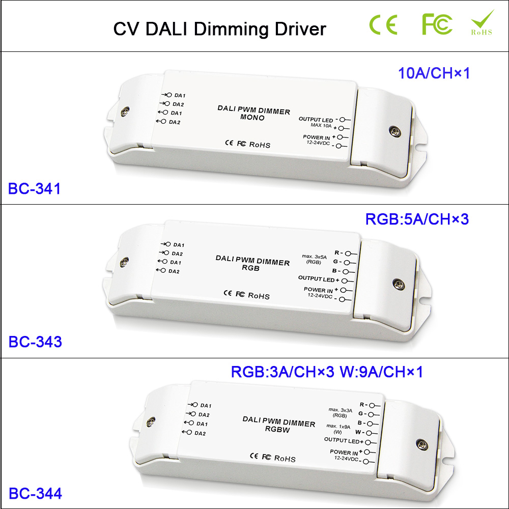 Hot CV DALI Led Dimmer Controller,1CH/3CH/4CH Dimming/RGB/RGBW Dimming Driver Controller for led strip tape light,DC12-24V ltech lt 403 6a dali led dimming driver dc12 24v input 6a 3ch max 18a output led controller for rgb led strip