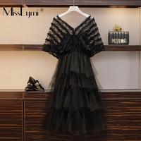 XL 5XL Plus Size Women Runway Dress Summer 2019 Vintage Hollow Out Lace Short Sleeve Patchwork Mesh Ruffle Ladies Party Dresses