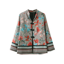 Fishon new knot buckle printed jacket