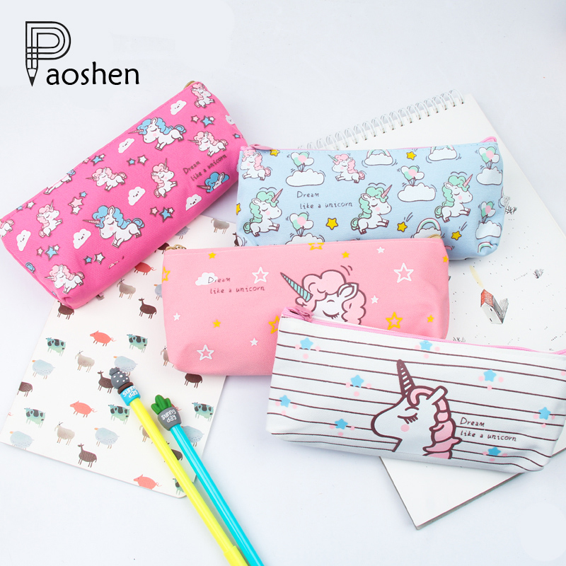 Cute Cartoon Animal Unicorn Pencil Cases Kawaii Canvas School Supplies Stationery Pencil Case Box for School Girl Kalem Kutusu okul pencil case kawaii emoticon printing cute cat pencil box big capacity pen case school supplies kalem kutu astuccio scuola