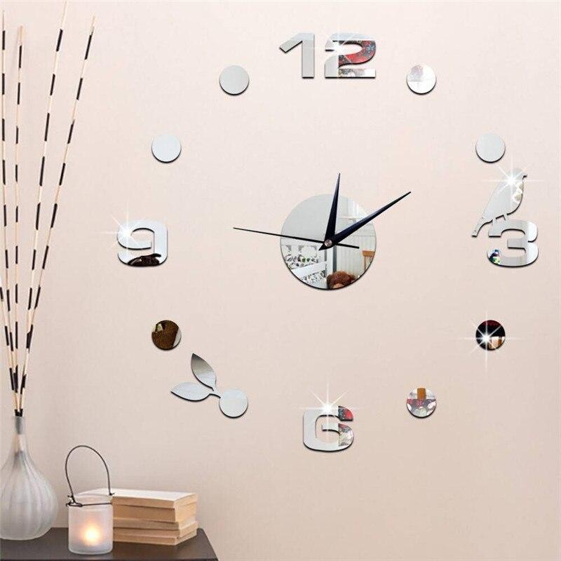 Home Wall Clock Sticker Watch Wall Clocks Horloge 3D DIY Acrylic Mirror Stickers Home Decoration Living Room Quartz Needle