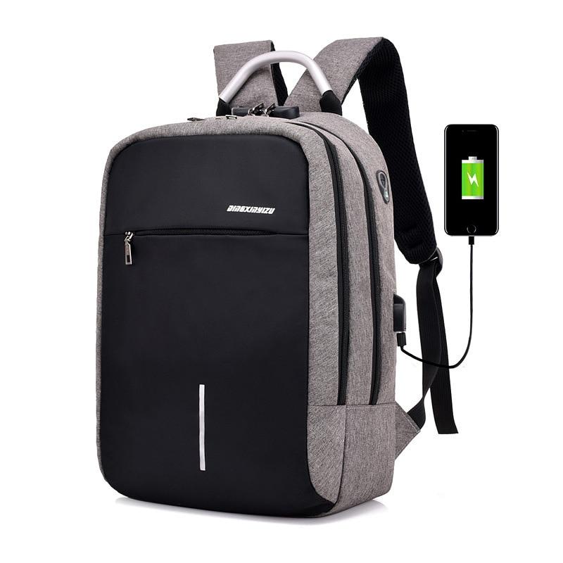 2018 Rushed Zipper New Men&#8217;s Shoulder Bag <font><b>Password</b></font> Anti-theft Backpack Usb Large-capacity Multi-functional Travel School Bags