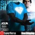 New 2017 moda mens algodão marca t novidade luminosa camisetas masculina curto homem manga casual clothing xxxl superman super homem